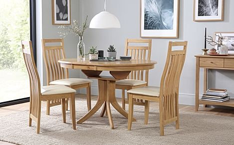 Hudson Round Oak Extending Dining Table with 6 Bali Chairs (Ivory Leather Seat Pads)