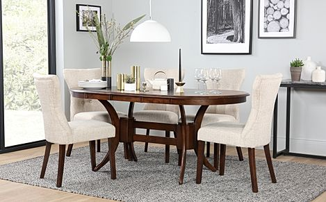 Townhouse Oval Dark Wood Extending Dining Table with 6 Bewley Oatmeal Fabric Chairs