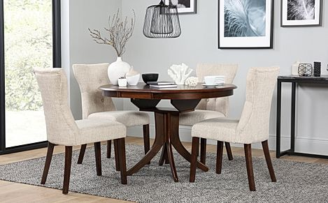 Hudson Round Dark Wood Extending Dining Table with 6 Bewley Oatmeal Fabric Chairs