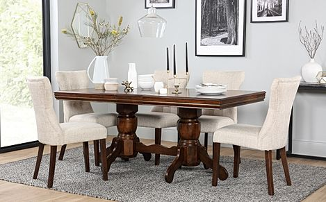 Chatsworth Dark Wood Extending Dining Table with 6 Bewley Oatmeal Fabric Chairs