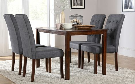 Milton Dark Wood Dining Table with 4 Regent Slate Fabric Chairs