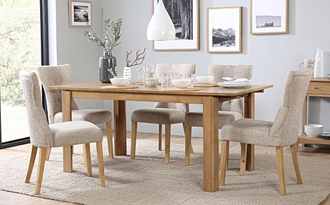 Bali Oak Extending Dining Table with 6 Bewley Oatmeal Fabric Chairs