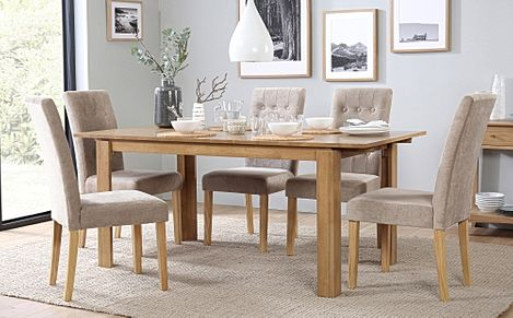 Bali Oak Extending Dining Table with 6 Regent Oatmeal Fabric Chairs