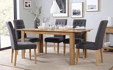 Bali Oak Extending Dining Table with 4 Regent Slate Fabric Chairs