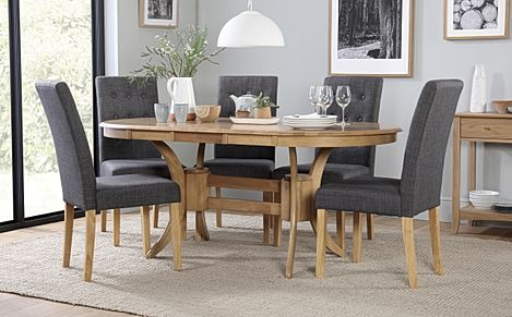 Townhouse Oval Oak Extending Dining Table with 4 Regent Slate Fabric Chairs