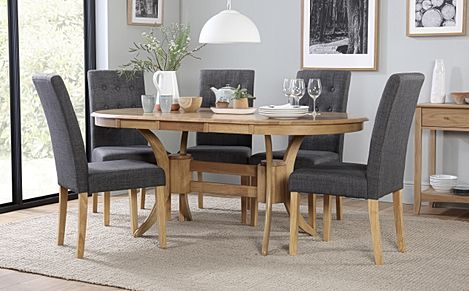 Townhouse Oval Oak Extending Dining Table with 6 Regent Slate Fabric Chairs