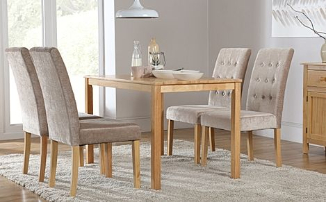 Milton Oak Dining Table with 4 Regent Oatmeal Fabric Chairs