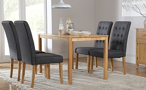 Milton Oak Dining Table with 4 Regent Slate Fabric Chairs