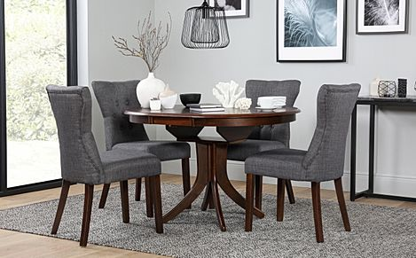 Hudson Round Dark Wood Extending Dining Table with 6 Bewley Slate Fabric Chairs