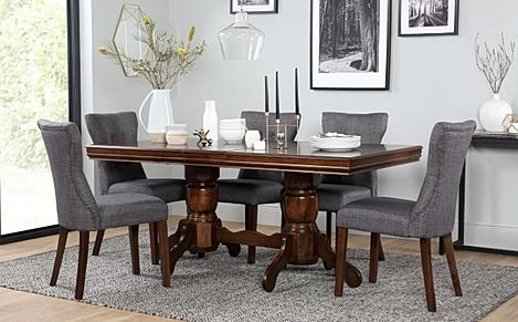 Chatsworth Dark Wood Extending Dining Table with 6 Bewley Slate Fabric Chairs