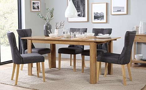 Bali Oak Extending Dining Table with 6 Bewley Slate Fabric Chairs
