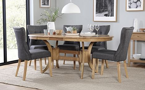 Townhouse Oval Oak Extending Dining Table with 6 Bewley Slate Fabric Chairs