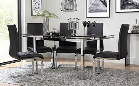 Space Chrome and Black Glass Extending Dining Table with 6 Perth Black Leather Chairs
