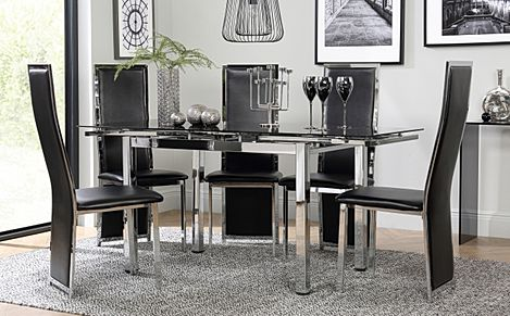 Space Chrome and Black Glass Extending Dining Table with 4 Celeste Black Leather Chairs
