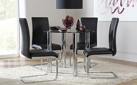Solar Round Glass & Chrome Dining Table And 4 Chairs Set (Perth Black)