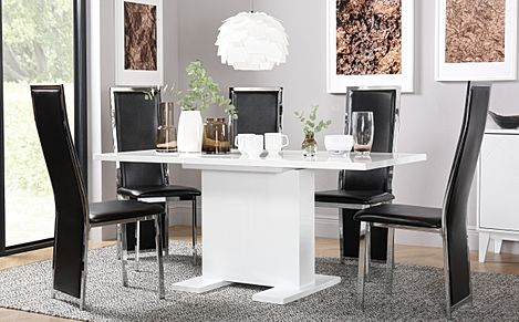 Osaka White High Gloss Extending Dining Table with 4 Celeste Black Leather Chairs