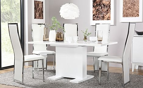 Osaka White High Gloss Extending Dining Table with 6 Celeste White Leather Chairs
