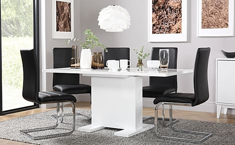 Osaka White High Gloss Extending Dining Table with 4 Perth Black Leather Chairs
