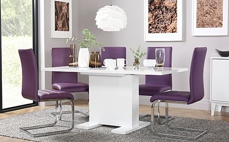 Osaka White High Gloss Extending Dining Table with 6 Perth Purple Leather Chairs