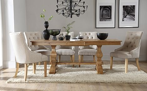 Cavendish Oak Extending Dining Table with 8 Duke Oatmeal Fabric Chairs