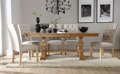 Cavendish Oak Extending Dining Table with 8 Hatfield Oatmeal Fabric Chairs