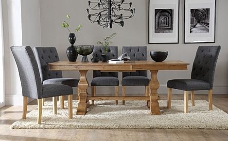 Cavendish Oak Extending Dining Table with 8 Hatfield Slate Fabric Chairs