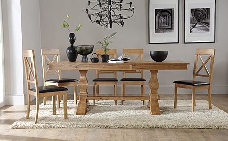 Cavendish Oak Extending Dining Table with 6 Kendal Chairs (Brown Leather Seat Pads)
