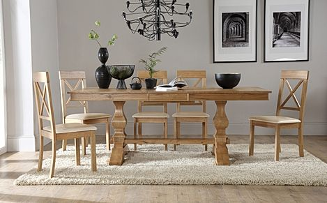 Cavendish Oak Extending Dining Table with 6 Kendal Chairs (Ivory Leather Seat Pads)