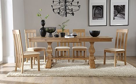 Cavendish Oak Extending Dining Table with 6 Chester Chairs (Ivory Seat Pad)