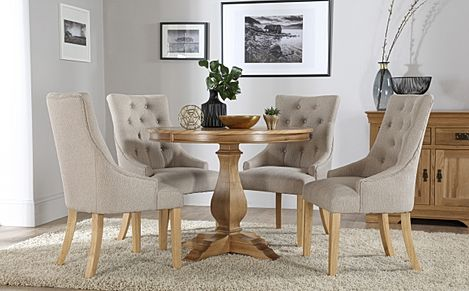 Cavendish Round Oak Dining Table with 4 Duke Oatmeal Fabric Chairs