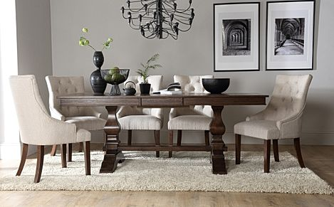 Cavendish Dark Wood Extending Dining Table with 6 Duke Oatmeal Fabric Chairs