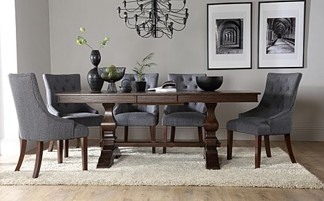 Cavendish Dark Wood Extending Dining Table with 8 Duke Slate Fabric Chairs