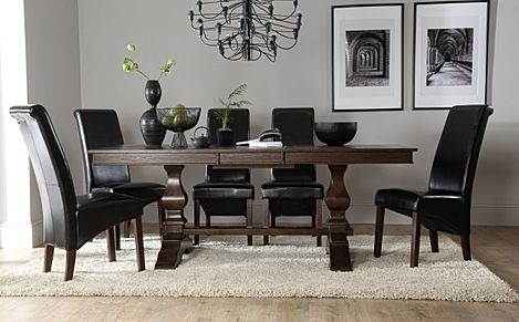 Cavendish Dark Wood Extending Dining Table with 6 Boston Brown Leather Chairs