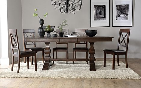Cavendish Dark Wood Extending Dining Table with 6 Kendal Chairs (Brown Leather Seat Pads)