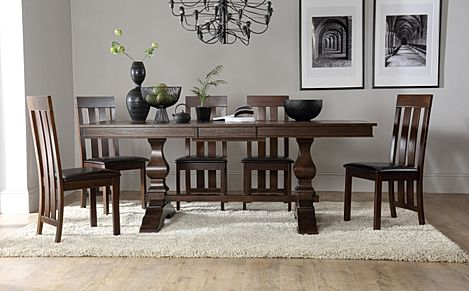 Cavendish Dark Wood Extending Dining Table with 6 Chester Chairs (Brown Leather Seat Pads)