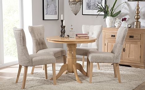 Kingston Round Oak Dining Table with 4 Bewley Oatmeal Fabric Chairs
