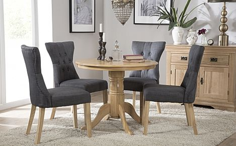 Kingston Round Oak Dining Table with 4 Bewley Slate Fabric Chairs