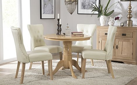 Kingston Round Oak Dining Table with 4 Bewley Ivory Leather Chairs