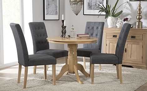 Kingston Round Oak Dining Table with 4 Regent Slate Fabric Chairs