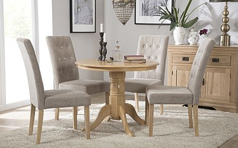 Kingston Round Oak Dining Table with 4 Regent Oatmeal Chairs