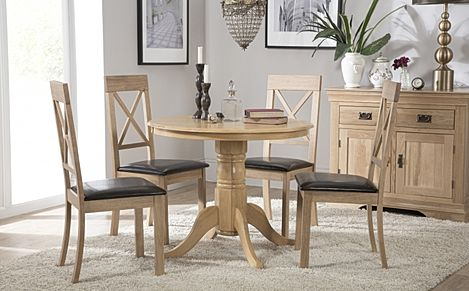 Kingston Round Oak Dining Table with 4 Kendal Chairs (Brown Leather Seat Pads)