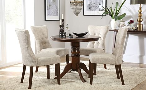 Kingston Round Dark Wood Dining Table with 4 Bewley Oatmeal Fabric Chairs
