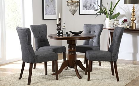 Kingston Round Dark Wood Dining Table with 4 Bewley Slate Fabric Chairs