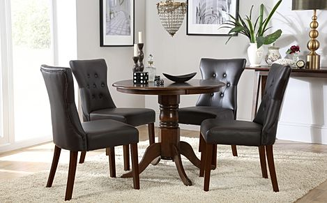Kingston Round Dark Wood Dining Table with 4 Bewley Brown Chairs