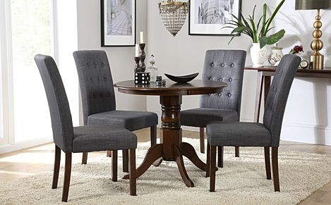 Kingston Round Dark Wood Dining Table with 4 Regent Slate Chairs