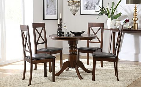 Kingston Round Dark Wood Dining Table with 4 Kendal Chairs (Brown Leather Seat Pads)