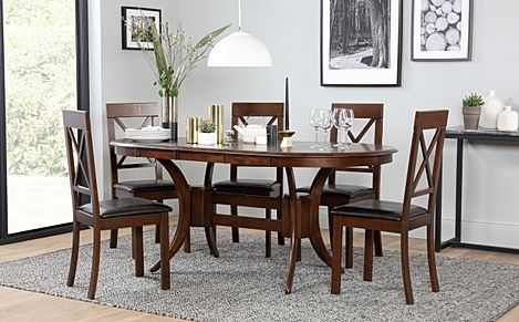 Townhouse Oval Dark Wood Extending Dining Table with 6 Kendal Chairs (Brown Leather Seat Pads)