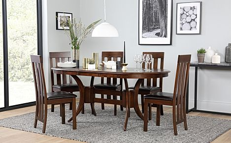 Townhouse Oval Dark Wood Extending Dining Table with 6 Chester Chairs (Brown Leather Seat Pads)