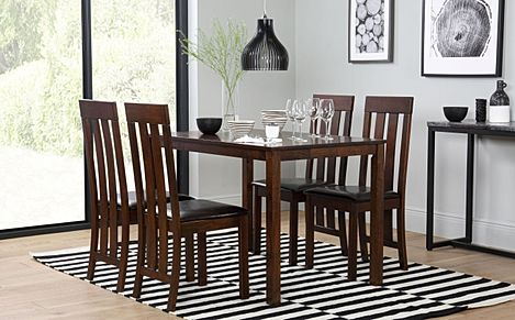 Milton Dark Wood Dining Table with 4 Chester Chairs (Brown Leather Seat Pads)