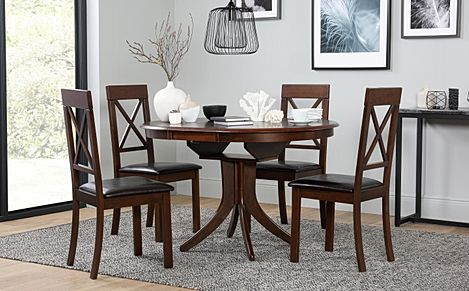 Hudson Round Dark Wood Extending Dining Table with 4 Kendal Chairs (Brown Leather Seat Pads)